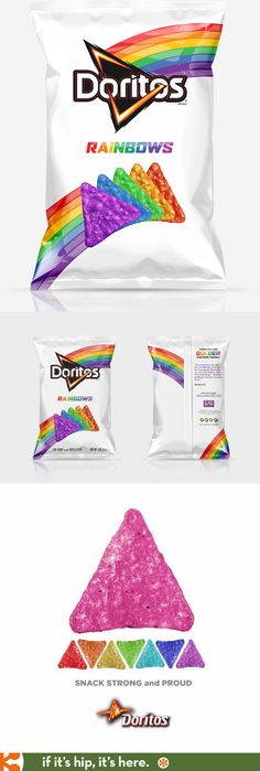 Doritos teamed up with It Gets Better to launch Doritos Rainbows. Each bag brings rainbow-colored chips inside and an inspiring quote on the outside. To get a bag, make a donation and share your support to inspire others.