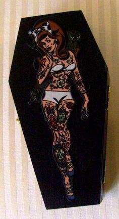 """Rotten Cherry Retro"" Psychobilly Tattoo Girl Pin Up Coffin Treasure Box by Jennie Rage of Rockin' Ramzi's Rockabilly and Pin Up Emporium www.facebook.com/..."