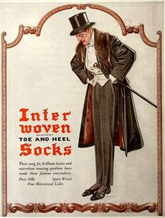 interwoven Socks Ad by JC Leyendecker. Vintage Advertisements, Vintage Ads, Vintage Posters, American Illustration, Fashion Illustration Vintage, Jc Leyendecker, Flapper, 1920s Art, 20th Century Fashion