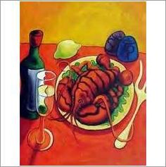 Original Oil On Canvas 'Amazing Lobster Still-Life' on eBid United Kingdom Still Life, Oil On Canvas, United Kingdom, Auction, Hand Painted, The Originals, Amazing, Board, Ethnic Recipes