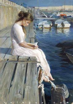 Woman Reading On Dock Art by Vladimir Volegov Reading Art, Woman Reading, Reading Books, Vladimir Volegov, Francisco Goya, Beautiful Paintings, Romantic Paintings, Classic Paintings, Art Paintings