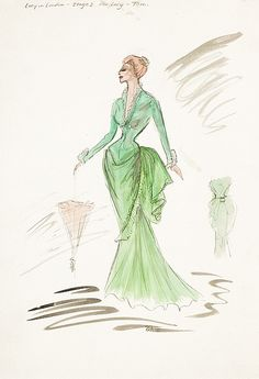 Edith Head vintage costume sketch of Lucille Ball