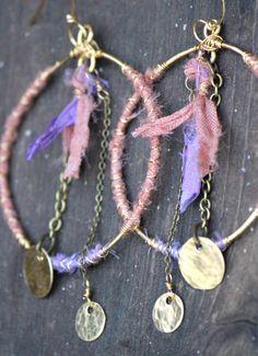Big Hoop Earrings Hippie Bohemian Earrings by DeerGirlDesigns