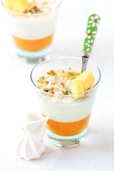 Mango & Vanilla Bean Buttermilk Panna Cottas. Recipe & photo by Helene Dujardin.