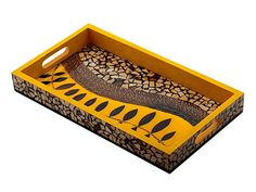 Mosaic Serving Tray $79.50 with FREE SHIPPING. Made from hand set coco nut shells and twigs. #trays #centerpieces