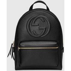 Gucci Soho Leather Chain Backpack (€1.390) ❤ liked on Polyvore featuring bags, backpacks, gucci, accessories, black, chain backpack, leather rucksack, real leather backpack, chain strap backpack and chain strap bags