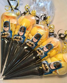 themed party sweet candy cones by Sweet Mafia Kids Party Treats, Party Sweets, Birthday Treats, Christmas Sweet Cones, Christmas Sweets, Boys First Birthday Party Ideas, Happy 25th Birthday, Superhero Birthday Cake, Superhero Party