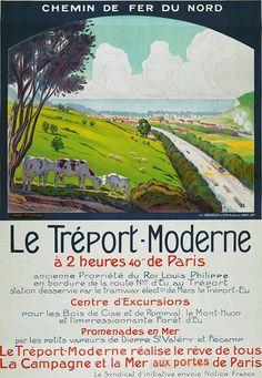 Affiche chemin de fer du nord - Le Tréport Moderne - illustration de André Fremond