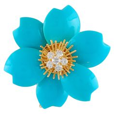 VAN CLEEF & ARPELS Turquoise Diamond 'Rose de Noel' Pin  USA  1980's