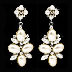 Amazon.com: Bridal Wedding Jewelry Crystal Rhinestone Pearl Cluster Dangle Earrings Ivory: Jewelry