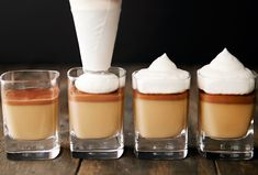 butterscotch and milk chocolate pudding / use real butter Mini Desserts, Just Desserts, Delicious Desserts, Dessert Recipes, Yummy Food, Dessert Shots, Chocolate Pudding Shots, Chocolate Pots, Yummy Treats
