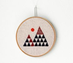 """Geometric mountains - Embroidery in wooden hoop 5"""" - Minimalist on Etsy, $45.00"""