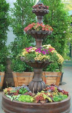 Beautiful Planter Made From Two Tier Water Fountain The Great