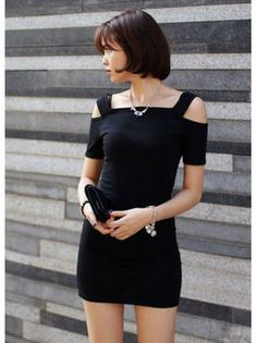 Woman Short Sleeve Design Black Knitting Harness Dress