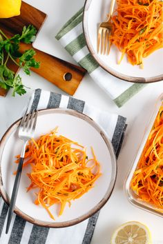 This Easy Carrot Salad or Carottes Râpées is a delicious side dish that can be made in no time and keeps well for several days in the refrigerator. It works great for a meal prep menu! #carrotsalad #mealprep | Easy Japanese Recipes at JustOneCookbook.com