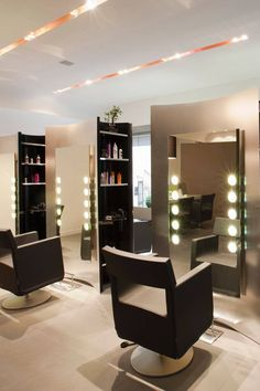 Small Ideas For Hair Salon Interior Design With Recessed Lighting And Modern Chairs