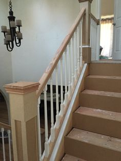 "The top steps and railings. Also the risers installed using 3/4"" MDF."