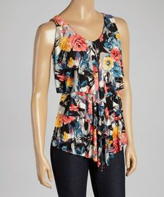 Another great find on #zulily! Black & Yellow Floral Tiered V-Neck Tank #zulilyfinds
