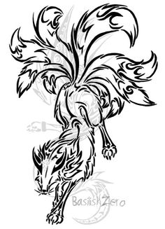 nine tailed fox tribal tattoo Tattoo Drawings, Body Art Tattoos, Tribal Tattoos, Tribal Drawings, Mark Tattoo, Fox Tattoo, Hannah Tattoo, Nine Tailed Fox, Dibujos Tattoo