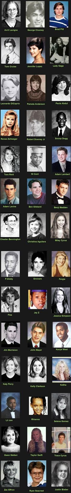 Celebrity yearbook photos and Justin Bieber.