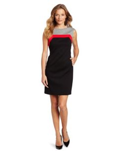 Nine West Dresses Women's Ponte Color Block Sheath - http://ocdinvestments.com/nine-west-dresses-womens-ponte-color-block-sheath/