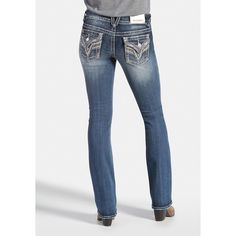 maurices Vigoss Slim Boot Jeans In Medium Wash ($84) ❤ liked on Polyvore featuring jeans, medium sandblast, mid-rise jeans, white slim fit jeans, slim cut jeans, white bootcut jeans and maurices