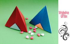 """Origami Paper """"Tetrahedron Gift Box"""" - Remake"""