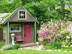 Easy Garden Shed repurposed designs for your backyard project Potting Shed with Shovel Door Handle Tyni House, Pump House, Free Standing Pergola, Shed Decor, Potting Sheds, Potting Benches, She Sheds, Tool Sheds, Shed Design