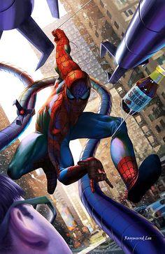 Spider-Man vs Doc Ock by Raymund Lee Marvel Art, Marvel Dc Comics, Marvel Heroes, Marvel Avengers, Amazing Spiderman, Spiderman Art, Comic Books Art, Comic Art, Marvel Universe