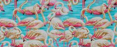 SALE 25% OFF Sale Remnant -  Flamingo Run by Ro Gregg- OOP and Rare Fabric- 100 Percent Quality Cotton - Moda Pattern # 15550 - $5.24 USD