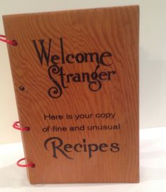 Wood Cover Book Welcome Stranger, Unusual Recipes, References, Advertising, Cooking, Food, Ft. Lauderdale Florida, Keepsake, Retro, OOAK by Sunshineoftreasures on Etsy