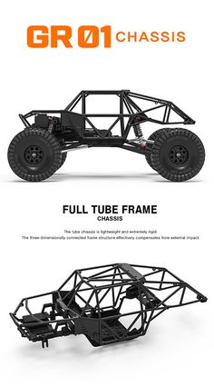 Gmade GOM 1/10 GR01 4WD Rock Crawler Kit #GM56000 Carros Off Road, Tube Chassis, Rock Crawler Chassis, Go Kart Kits, Kart Cross, Go Kart Frame, Homemade Go Kart, Go Kart Buggy, Go Kart Plans