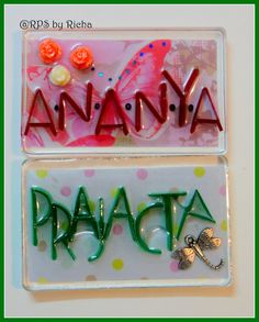 I had made personalised fridge magnets, for someone :). An appreciative husband, specified his wife likes dragon flies and Green, and his daughter ( then 3 yr old) loves butterflies. I tried to incorporate that in either embellishment form or background :)