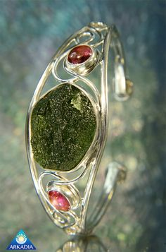 Pink Tourmaline & Raw Moldavite Sterling 925 by ArkadiaCollection