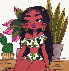 Bex at thr ruff top pool Black Love Art, Black Girl Art, Art Girl, Cartoon Kunst, Cartoon Art, Art Sketches, Art Drawings, Arte Black, Art Et Design