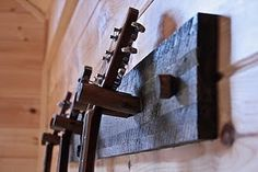 Reclaimed Wood Instrument Hanger by bluemountainwoodwork on Etsy, $125.00