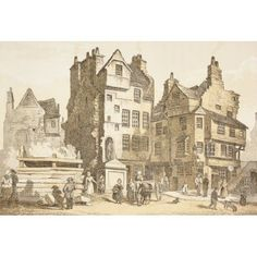 Netherbow House Edinburgh Scotland As It Was In 1843 Tradition Says John Knox Lived In It From The Scots Worthies According To Howies Second Edition 1781 Published 1879 Canvas Art - Ken Welsh Design