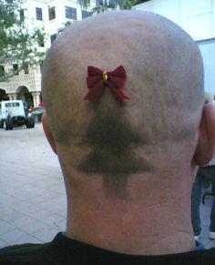 Christmas Tree Shaved into Head ~ 25 Funny, Creepy Family Christmas Photos