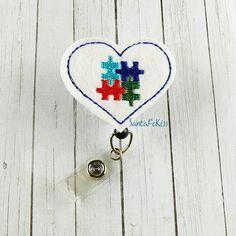 Autism Awareness  Retractable ID Badge Reel by SantaFeKiss