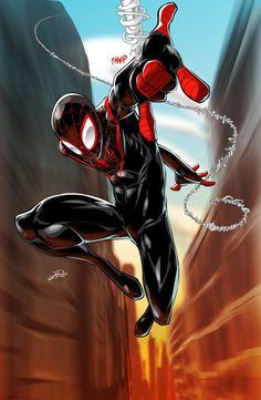 Ultimate Spider-Man / Miles Morales by J Reed Art Marvel Comics, Comics Anime, Marvel Comic Universe, Marvel Art, Marvel Heroes, Flash Comics, Ms Marvel, Captain Marvel, Amazing Spiderman
