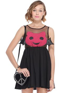 ROMWE | Cartoon Demon Embellished Black Dress, The Latest Street Fashion   #RomwePartyDress