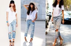 How to wear boyfriend jeans? With a loose white T-shirt and strap heels.