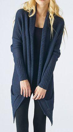 Blue Sidetail Open Cardigan