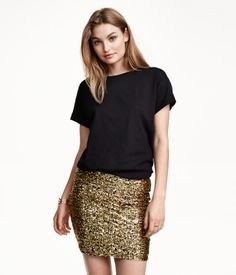 Gold sequined skirt in jersey with an elasticized waistband. | H&M Divided