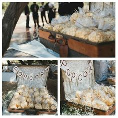wedding popcorn bags | Wedding Snacks: individual popcorn bags...we put them inside a vintage ...