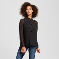 Women's Micro Pleat Bow Blouse - Who What Wear ™ : Target Size Small