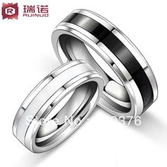 Free Shipping and Free Engrave Customize Super Deal black and white Tungsten Ring Woman Man's wedding Rings Couple Rings