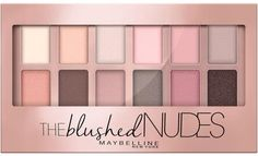 The Blushed Nudes Eyeshadow Palette by Maybelline. Create bold eye makeup looks with this eyeshadow palette of duo, trio, and quad color combinations. Paleta Maybelline, Maybelline Blushed Nudes, Maybelline Eyeshadow, Nude Eyeshadow, The Blushed Nudes, Lipstick Mac, Eyeshadow Primer, Makeup Products, Makeup Ideas