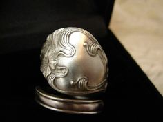 Ribbons and Flowers Sterling Spoon Ring. $52.00, via Etsy.