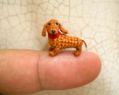 0.6 Inch Brown Dachshund - Micro Mini Crochet Dog Stuffed Animal - Made To Order